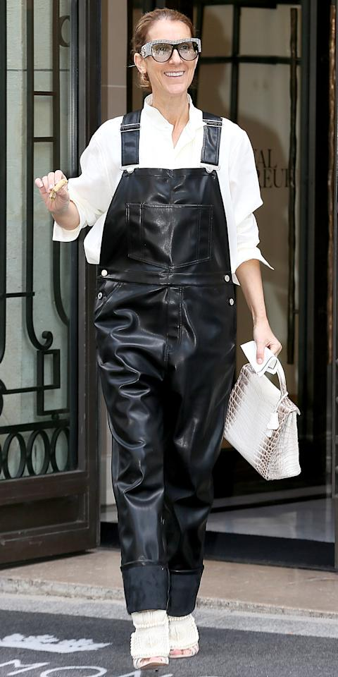 <p>Does it get any better than this? Dion stepped out in Givenchy black leather overalls that she styled with a white Celine blouse and rhinestone-covered Gucci sunglasses. The cherry on top? Her shoes, which are actually from the spring 2012 Kanye West x Giuseppe Zanotti collaboration. Major. </p>