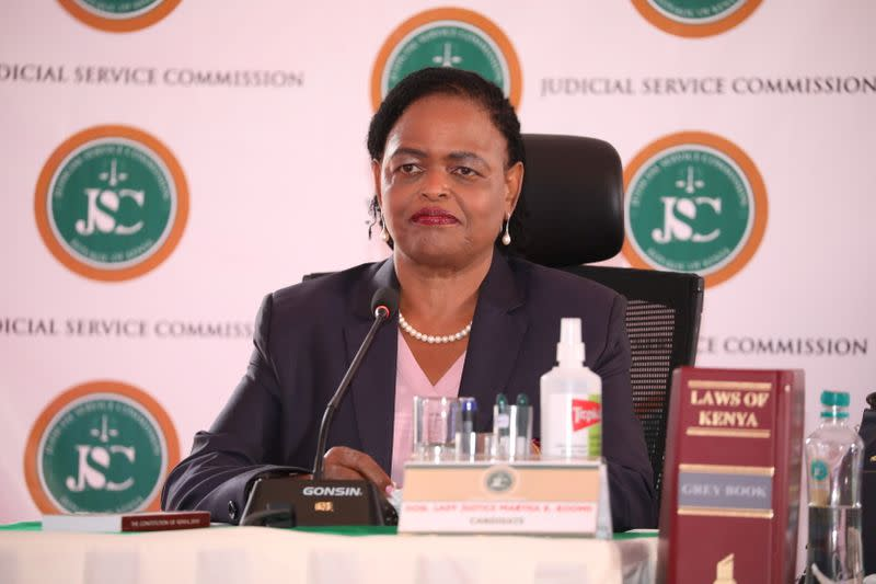 Judge Martha Koome attends the interview for the post of Chief Justice at the Supreme Court building in Nairobi