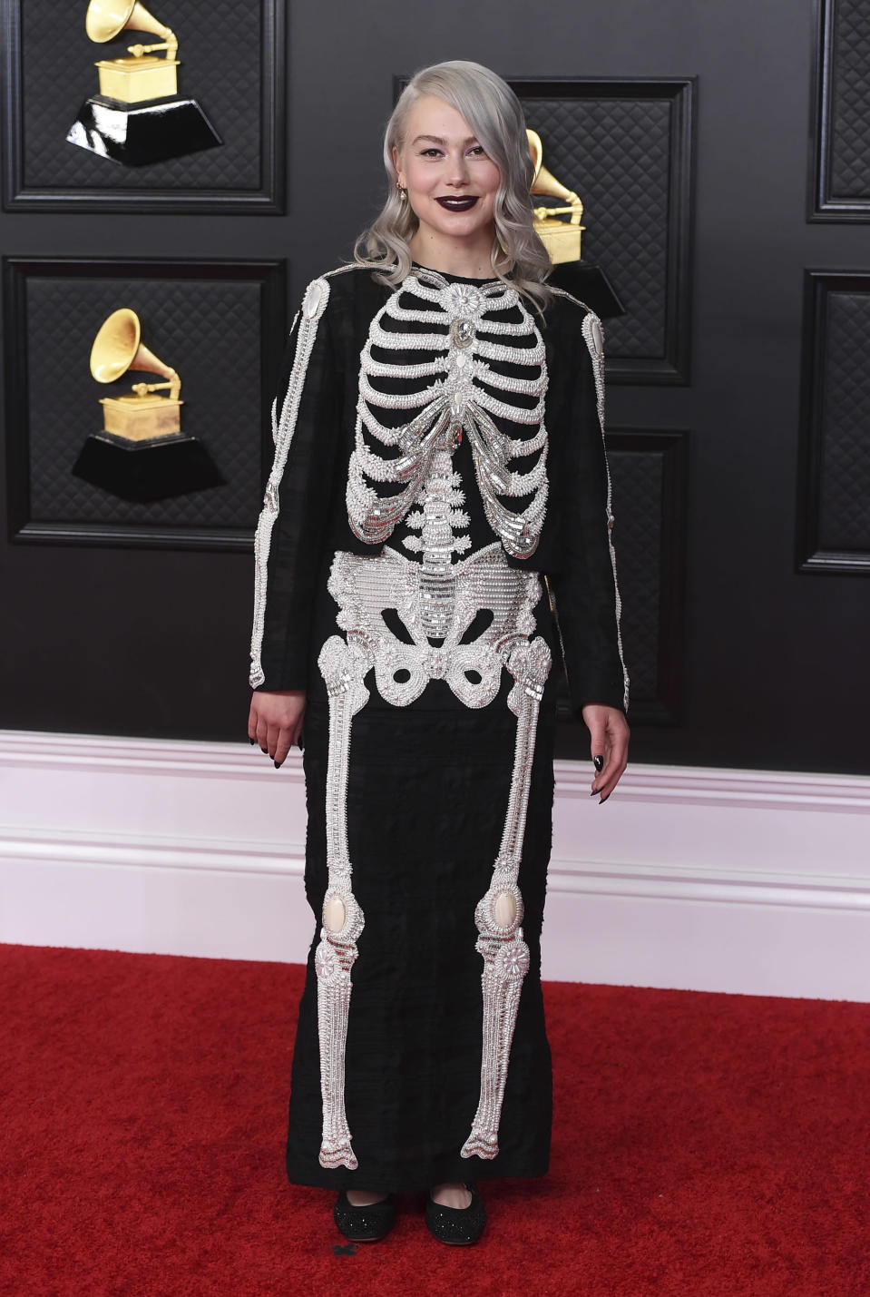 Phoebe Bridgers arrives at the 63rd annual Grammy Awards at the Los Angeles Convention Center on Sunday, March 14, 2021. (Photo by Jordan Strauss/Invision/AP)