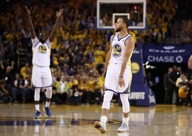 Draymond Green, Stephen Curry and the Warriors are on to their fourth straight Western Conference finals. (Getty)