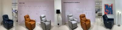 MOV 360 power reclining chairs on display in our showroom at High Point, NC.