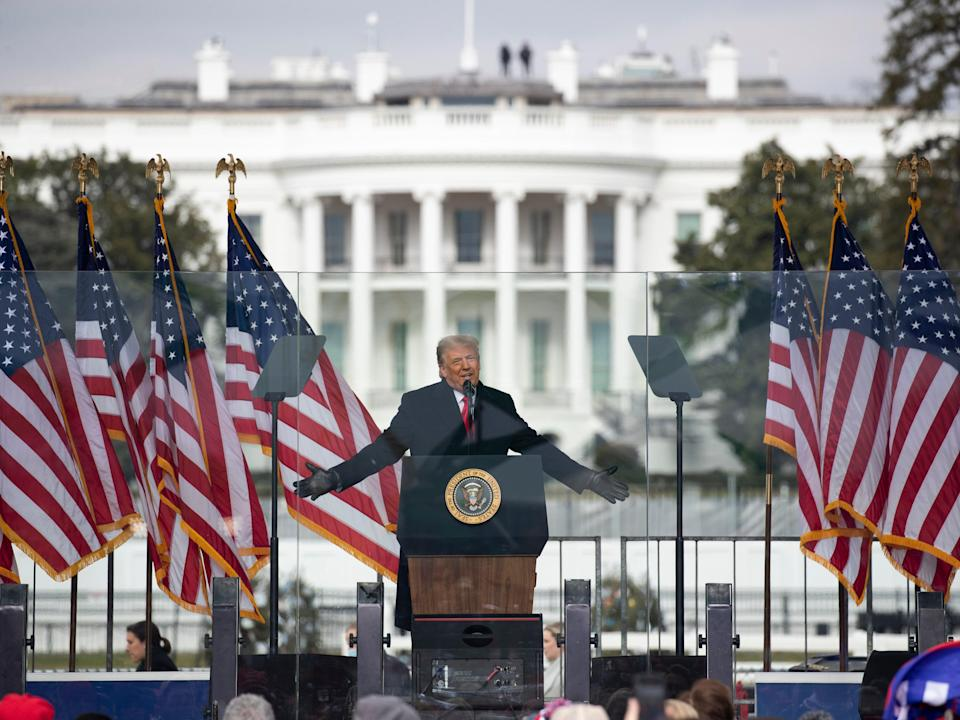 Trump addresses supporters at the White House on 6 January 2021 (EPA-EFE)