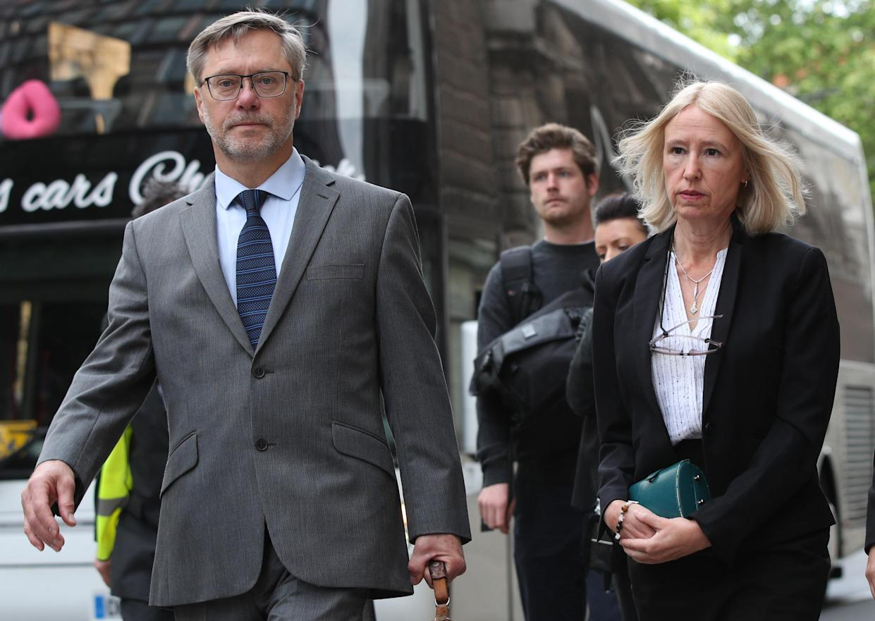 John Letts and Sally Lane, the parents of Jack Letts, dubbed Jihadi Jack, arrive at the Old Bailey, London. The couple were charged with three counts of funding terrorism for sending money to their Muslim convert son after he joined Islamic State. (Photo by Yui Mok/PA Images via Getty Images)