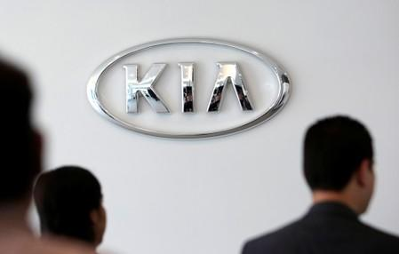 The logo of Kia Motors is seen at the manufacturing plant in Pesqueria