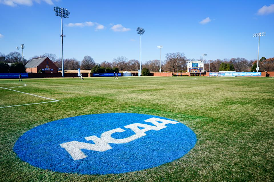 GREENSBORO, NC - DECEMBER 07: The NCAA logo on the field during the Division III Women's Soccer Championship held at UNCG Soccer Stadium on December 7, 2019 in Greensboro, North Carolina. The Messiah College Falcons defeated the William Smith Herons 1-0. (Photo by Jacob Kupferman/NCAA Photos via Getty Images)