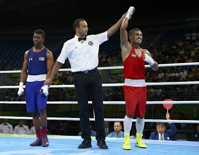 Gary Antuanne Russell suffered a split decision loss to Fazliddin Gaibnazarov at the Olympics. (Getty Images)