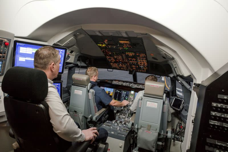 FILE PHOTO: FILE PHOTO: An inside view of the Icelandair Boeing 737 MAX training simulator in the TRU Flight Training Iceland in Reykjavik