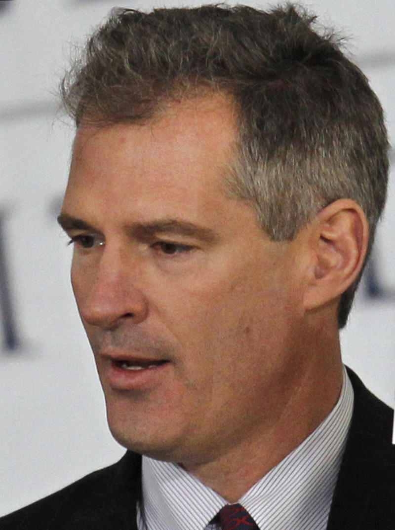 FILE - In this April 8, 2010 file photo, U.S. Sen. Scott Brown, R-Mass., speaks during groundbreaking ceremonies in Boston for the new Edward M. Kennedy Institute for the United States Senate. Brown is relying heavily on donations from the financial and health care sectors as he gears up for re-election in November 2012, while his chief Democratic rival, Elizabeth Warren, is tapping the wallets of lawyers, academics, union members and filmmakers.  (AP Photo/Steven Senne, File)
