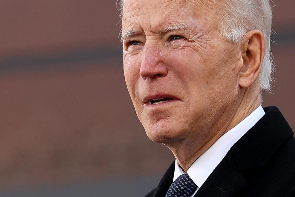 With eyes wet with tears, President-elect Joe Biden delivers remarks in his home state before heading to Washington. Source: Getty
