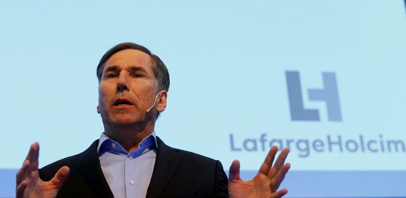 FILE PHOTO: CEO Jan Jenisch of world's biggest cement group LafargeHolcim addresses the annual news conference in Zurich, Switzerland March 2, 2018. REUTERS/Arnd Wiegmann/File Photo