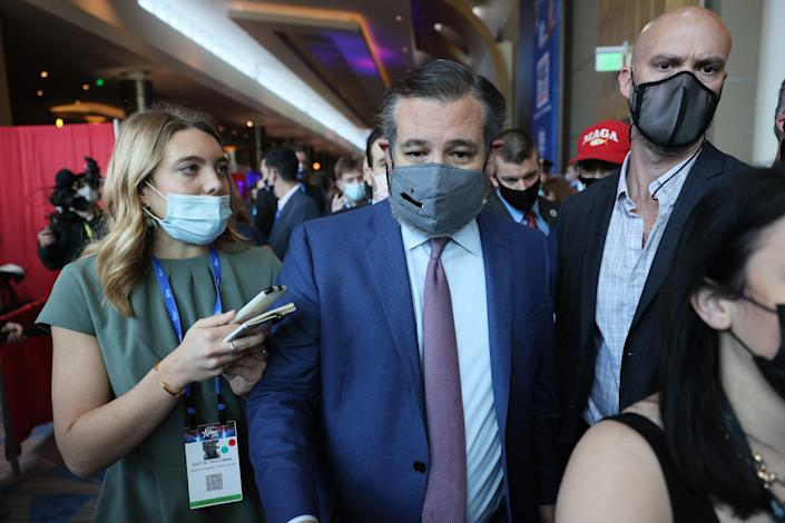ORLANDO, FLORIDA - FEBRUARY 26: Sen. Ted Cruz (R-TX) arrives to speak at the Conservative Political Action Conference held in the Hyatt Regency on February 26, 2021 in Orlando, Florida. Begun in 1974, CPAC brings together conservative organizations, activists, and world leaders to discuss issues important to them. (Photo by Joe Raedle/Getty Images) ORG XMIT: 775624037 ORIG FILE ID: 1304222956