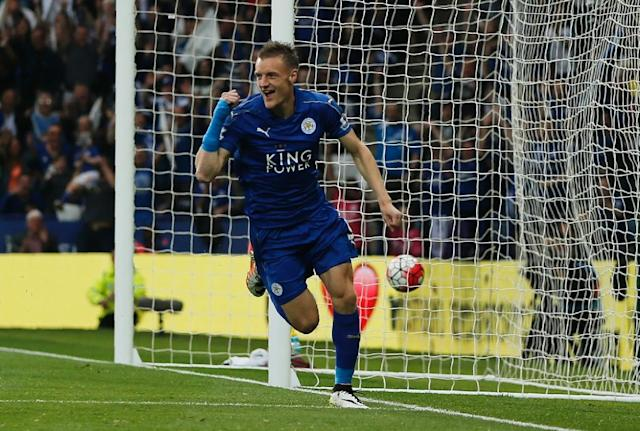 Leicester City's striker Jamie Vardy, in action on May 7, 2016, hopes that his new venture, christened the V9 Academy, will give a helping hand to players who do not have access to professional coaching structures (AFP Photo/Adrian Dennis)