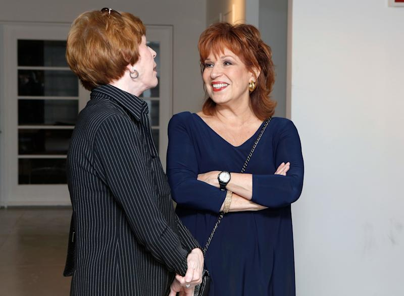 NEW YORK, NY - SEPTEMBER 17: TV personality Joy Behar speaks with comedian Carol Burnett backstage after a performance by Linda Lavin at 54 Below on September 17, 2012 in New York City. (Photo by Cindy Ord/Getty Images for 54 Below)