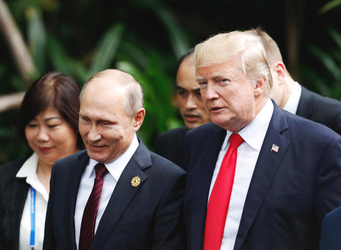 Donald Trump and Russian President Vladimir Putin at a conference last November. (Photo: Jorge Silva/Pool Photo via AP)