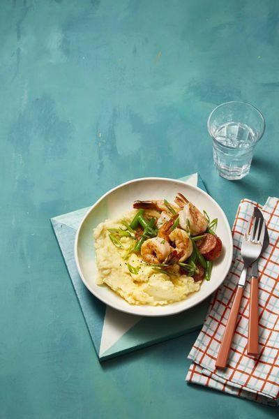 """<p>Bring all the flavors of a classic low-country shrimp boil to tonight's dinner, ready in just 30 minutes.</p><p><em><a href=""""https://www.womansday.com/food-recipes/food-drinks/a26346682/old-bay-mashed-potatoes-with-sauteed-shrimp-and-sausage-recipe/"""" rel=""""nofollow noopener"""" target=""""_blank"""" data-ylk=""""slk:Get the recipe for Old Bay Mashed Potatoes with Sauteed Shrimp and Sausage"""" class=""""link rapid-noclick-resp"""">Get the recipe for Old Bay Mashed Potatoes with Sauteed Shrimp and Sausage</a></em></p>"""