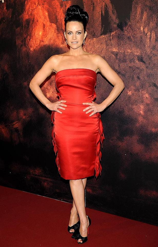 "Carla Gugino lit up the arrivals line at the Madrid premiere of ""Race to Witch Mountain"" in a fire engine red Georges Chakra frock and $895 Christian Louboutin ""Bow T Dorcet"" heels. Carlos Alvarez/<a href=""http://www.gettyimages.com/"" target=""new"">GettyImages.com</a> - April 2, 2009"