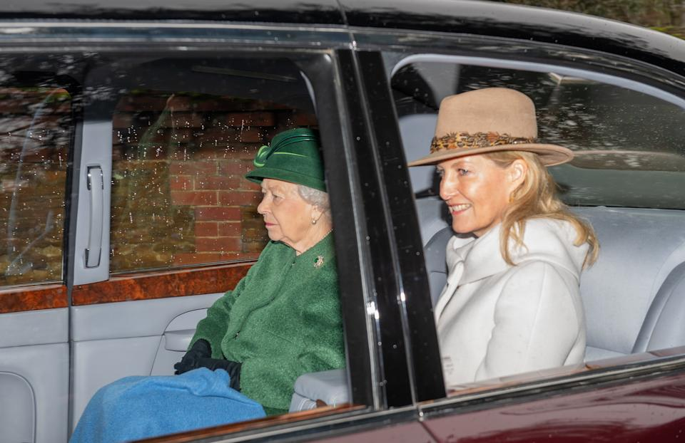 Queen Elizabeth II and The Countess of Wessex leave after attending a church service at St Mary Magdalene Church in Sandringham, Norfolk.