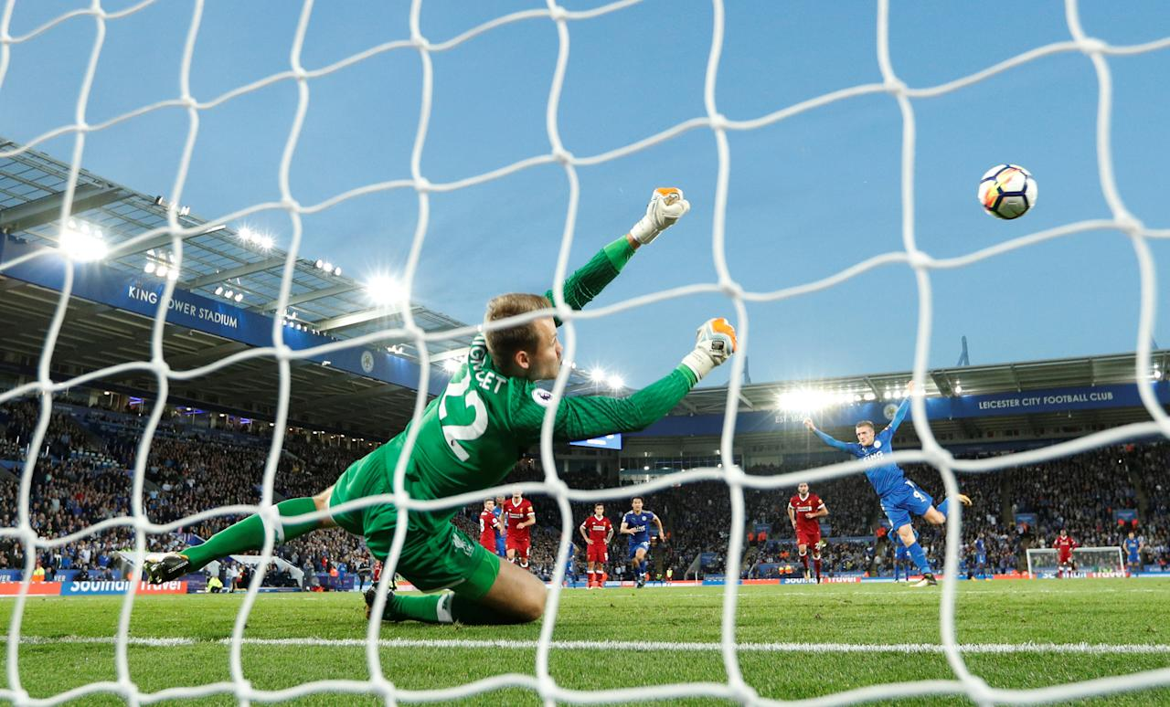 "Soccer Football - Premier League - Leicester City vs Liverpool - King Power Stadium, Leicester, Britain - September 23, 2017   Liverpool's Simon Mignolet saves a penalty from Leicester City's Jamie Vardy    Action Images via Reuters/John Sibley    EDITORIAL USE ONLY. No use with unauthorized audio, video, data, fixture lists, club/league logos or ""live"" services. Online in-match use limited to 75 images, no video emulation. No use in betting, games or single club/league/player publications. Please contact your account representative for further details."