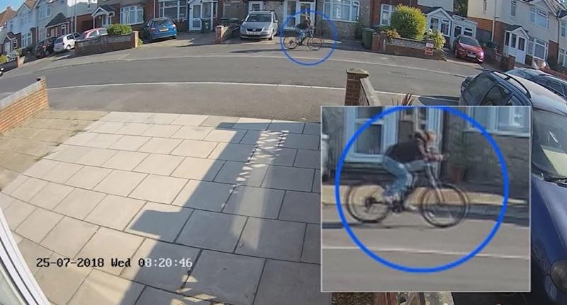 Picture shows Stephen Nicholson, 25, riding his bike on the morning he is accused of murdering UK schoolgirl Lucy McHugh in Southampton.