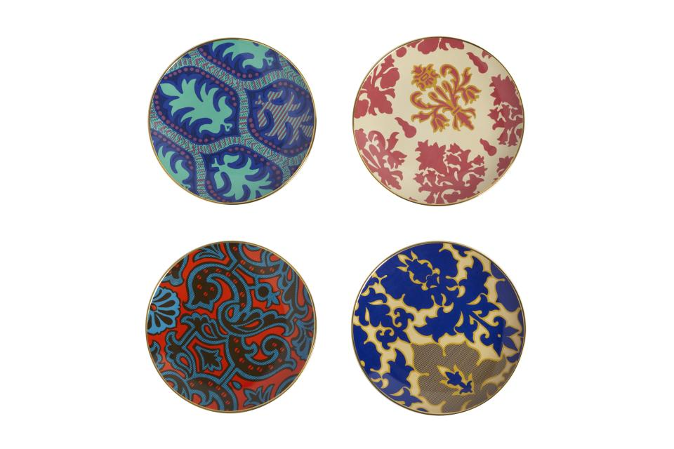 <b>Tracy Reese for Target + Neiman Marcus Dessert Plates (set of 4) </b><br><br> Price: $39.99<br><br> Tracy Reese's dessert plates have an 18K gold edge. The bright prints come from the designer's archives.<br><br>