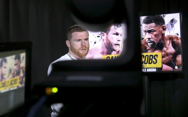 WBC and WBA middleweight boxing champion Canelo Alvarez speaks during an interview, Thursday Feb. 28, 2019, in New York. Alvarez is slated to fight Daniel Jacobs in a middleweight title unification bout in Las Vegas, on Saturday May, 4, 2019. (AP Photo/Bebeto Matthews)