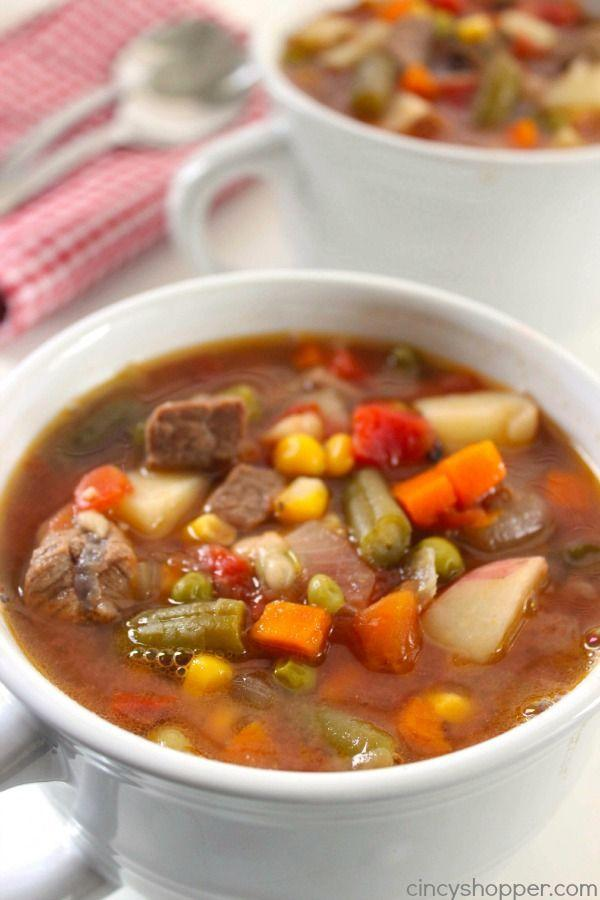 """<p>There's no reason to eat salad when you can get your veggies right in your soups.</p><p>Get the recipe from <a href=""""http://cincyshopper.com/slow-cooker-vegetable-beef-soup/"""" rel=""""nofollow noopener"""" target=""""_blank"""" data-ylk=""""slk:Cincy Shopper"""" class=""""link rapid-noclick-resp"""">Cincy Shopper</a>.</p>"""