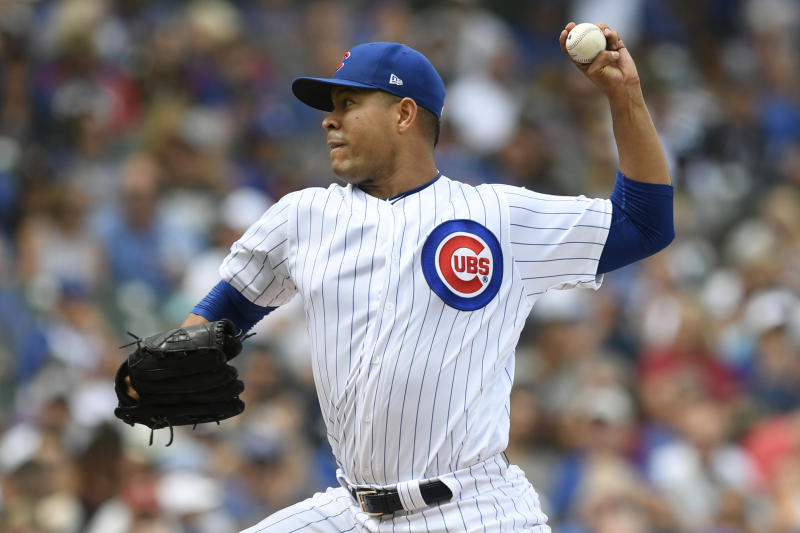 Chicago Cubs starter Jose Quintana delivers a pitch during the second inning of a baseball game against the Milwaukee Brewers Friday, Aug 30, 2019, in Chicago. (AP Photo/Paul Beaty)