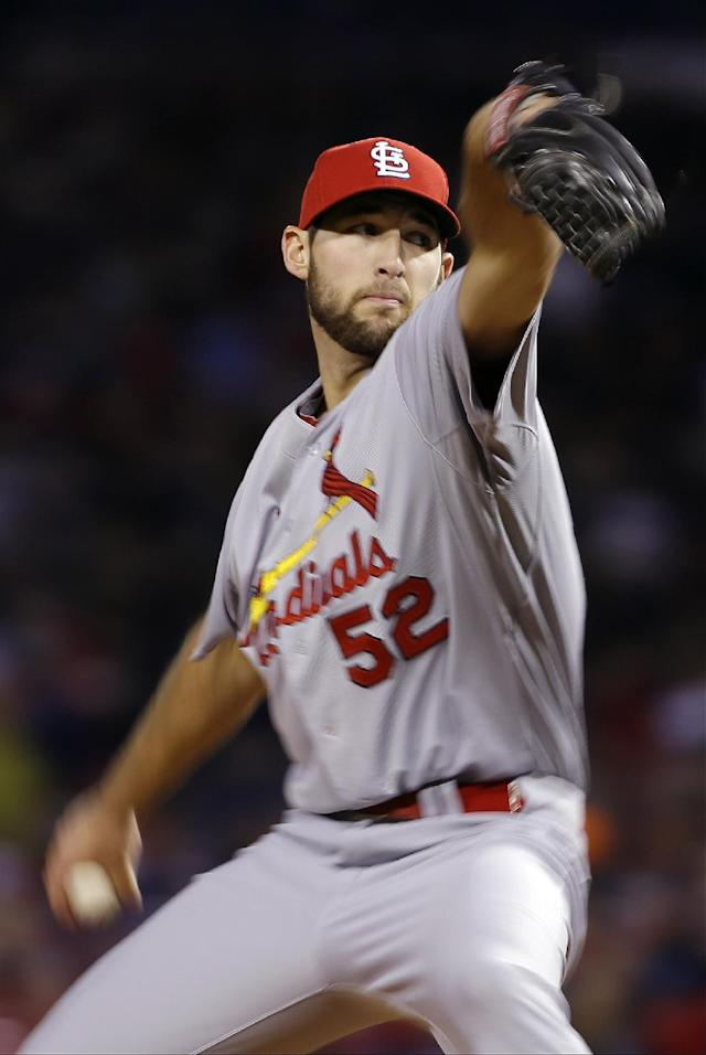St. Louis Cardinals starting pitcher Michael Wacha throws during the third inning of Game 2 of baseball's World Series against the Boston Red Sox Thursday, Oct. 24, 2013, in Boston. (AP Photo/Matt Slocum)