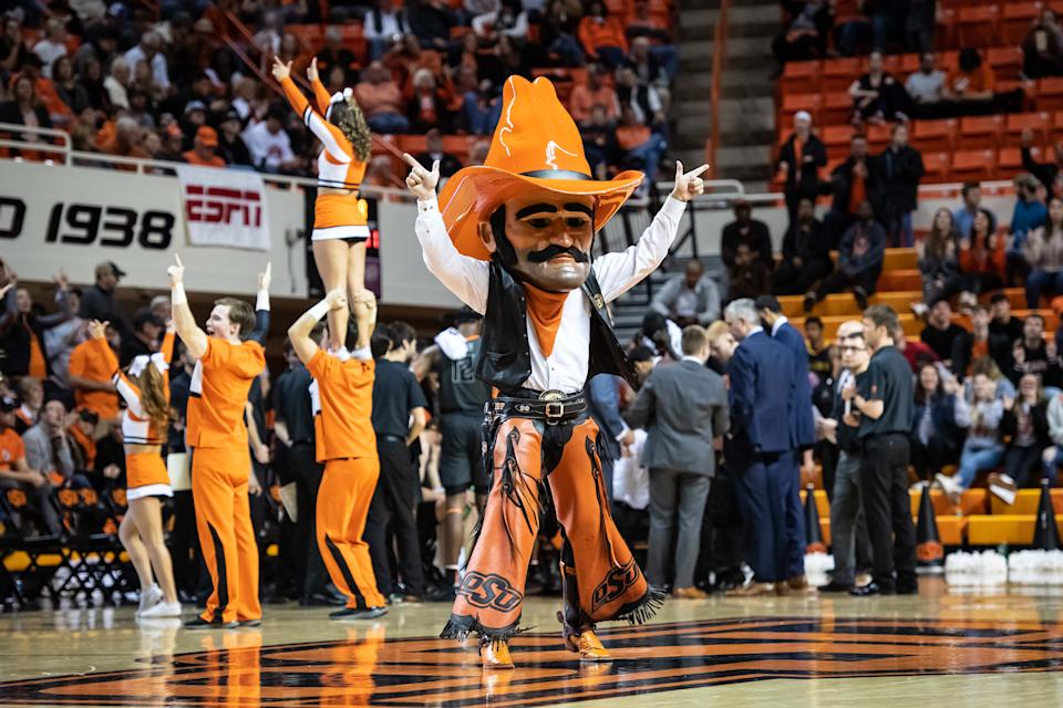 Oklahoma State Cowboys mascot Pistol Pete is shown during a timeout in the game against the West Virginia Mountaineers at Gallagher-Iba Arena. (USA Today)