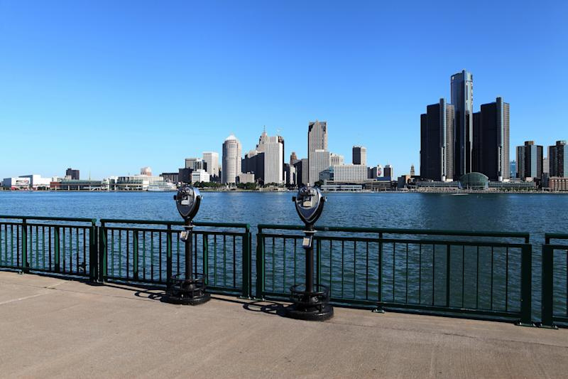 The Detroit, Michigan, skyline as photographed from the Windsor riverfront. (Raymond Boyd via Getty Images)