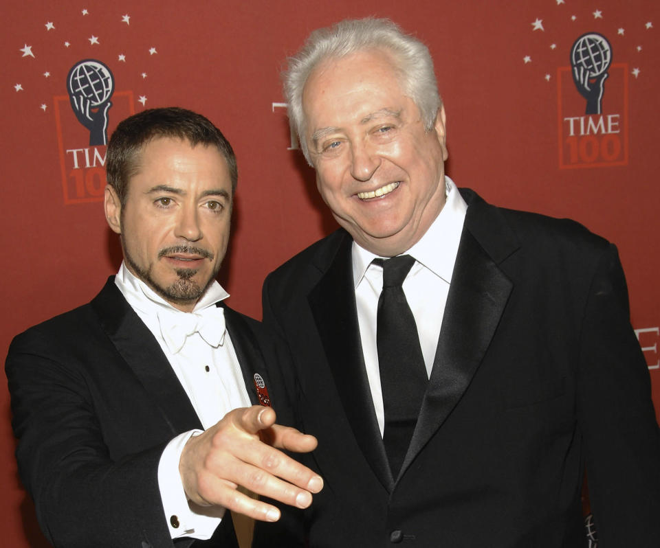 FILE - Actor Robert Downey Jr., left, and his father Robert Downey Sr. arrive at Time's 100 Most Influential People in the World Gala in New York on May 8, 2008. Downey Sr., the accomplished countercultural filmmaker, actor and father of superstar Robert Downey Jr., has died. He was 85. Downey Jr. wrote on Instagram that his father died late Tuesday in his sleep at home in New York. He had Parkinson's disease for more than five years. (AP Photo/Evan Agostini, File)