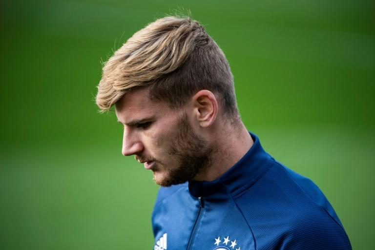 Timo Werner trains with the Germany team in Hamburg on Wednesday (AFP/John MACDOUGALL)