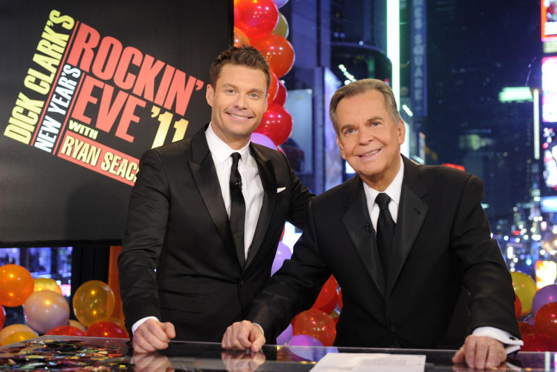 "In this image released by ABC,  Dick Clark, right, and Ryan Seacrest are shown in New York. Clark and Seacrest will celebrate 40 years of history as they host ""Dick Clark's New Year's Rockin' Eve with Ryan Seacrest 2012"" live from ABC Studios in New York on Saturday, Dec. 31, 2011 on the ABC Television Network.  (AP Photo/ABC, Ida Mae Astute)"