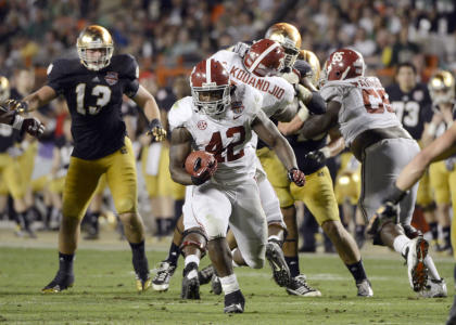 Crimson Tide running back Eddie Lacy ran for 140 yards and one TD against Notre Dame. (USA Today Sports)