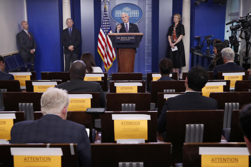 Vice President Mike Pence speaks about the coronavirus in the James Brady Briefing Room, Thursday, March 26, 2020, in Washington, as Dr. Anthony Fauci, director of the National Institute of Allergy and Infectious Diseases, and Dr. Deborah Birx, White House coronavirus response coordinator, listen. (AP Photo/Alex Brandon)