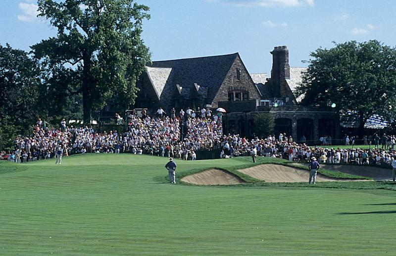 a view of the 18th green during the 79th PGA Championship held at Winged Foot Golf Club in Mamaroneck, New York. August 14-17, 1997. (The PGA of America/Getty Images).