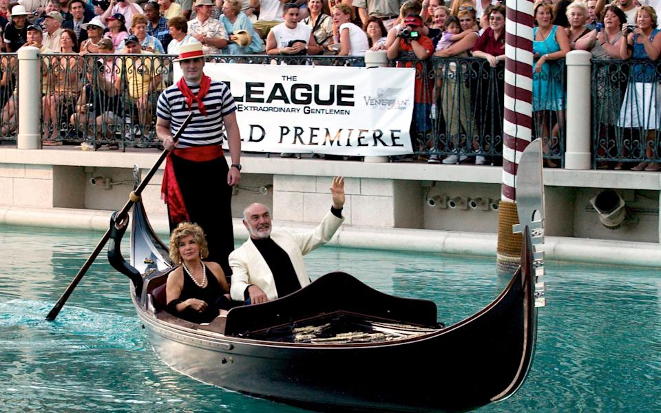 Sean Connery and his wife Micheline at the Las Vegas premiere of The League of Extraordinary Gentlemen, in 2003 - Reuters