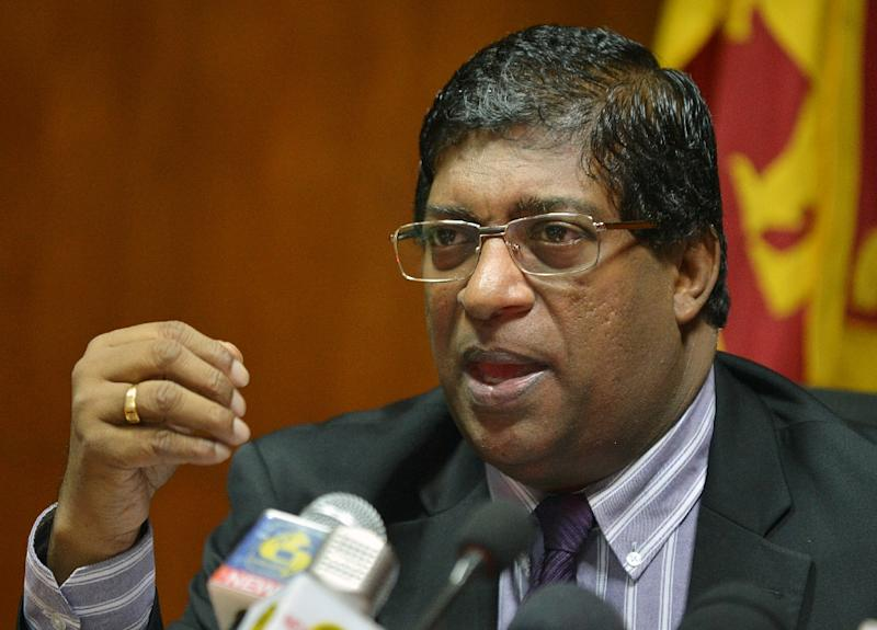 Sri Lankan Finance Minister Ravi Karunanayake (pictured) escaped unhurt but accused the opposition United People's Freedom Alliance (UPFA) of carrying out the attack, a charge denied by the party (AFP Photo/Ishara S. Kodikara)