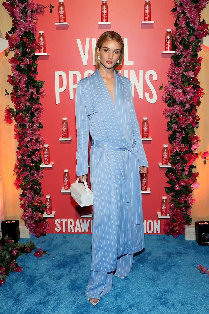 <p>The model gave a lesson in pyjama dressing this month courtesy of a seriously luxe Galvin co-ord.<em>[Photo: Getty]</em> </p>