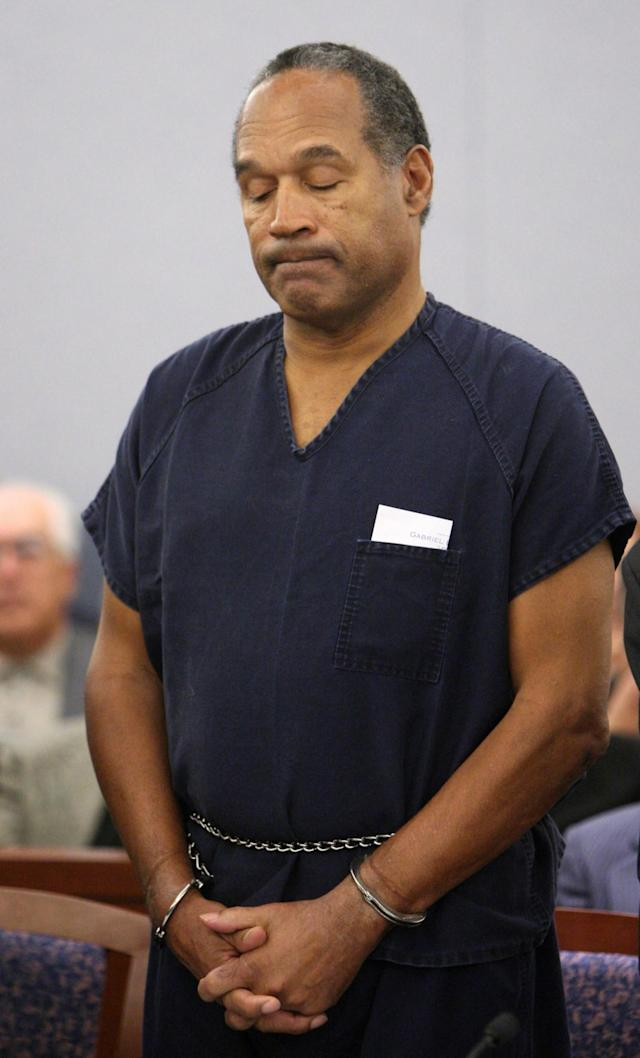 <p>O.J. Simpson appears during his sentencing hearing at the Clark County Regional Justice Center in Las Vegas, Nev., Dec. 5, 2008. (Photo: Isaac Brekken, Pool/ AP) </p>