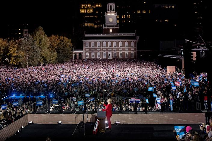 <p>Democratic presidential candidate Hillary Clinton speaks at a rally at Independence Mall in Philadelphia, Monday, Nov. 7, 2016. (Photo: Andrew Harnik/AP) </p>