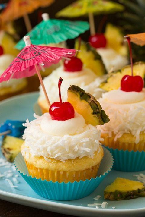 """<p>Enjoy a taste of the tropics with these fun cupcakes that include pineapple and coconut flavors.</p><p><strong><a href=""""http://www.cookingclassy.com/2016/03/pina-colada-cupcakes/"""" rel=""""nofollow noopener"""" target=""""_blank"""" data-ylk=""""slk:Get the recipe at Cooking Classy."""" class=""""link rapid-noclick-resp"""">Get the recipe at Cooking Classy.</a></strong></p>"""