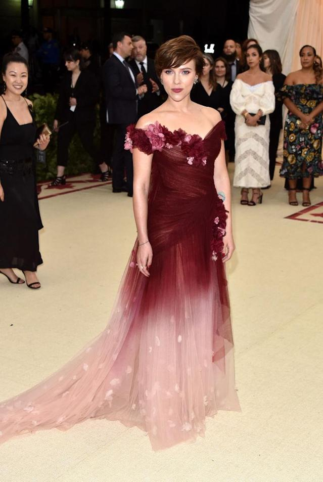 <p>Johansson stunned audiences when she stepped out in a Marchesa dress. (Photo: Getty Images) </p>
