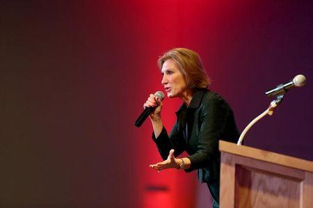 U.S. Republican presidential candidate Carly Fiorina speaks at Cornerstone Action: Practical Federalism 2016 at the University of Southern New Hampshire in Hooksett