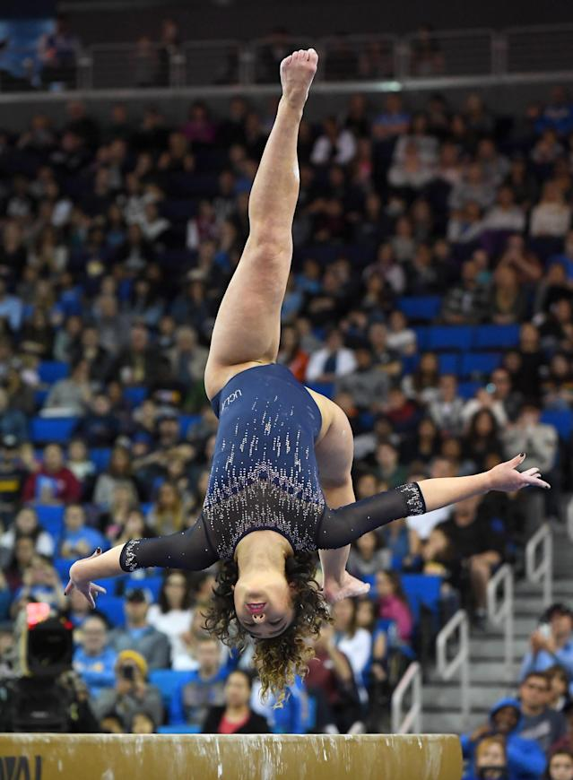 UCLA Bruins gymnast Katelyn Ohashi performs her balance beam routing in the meet against the Arizona Wildcats at Pauley Pavilion on February 16, 2019 in Los Angeles, California. (Photo by Jayne Kamin-Oncea/Getty Images)