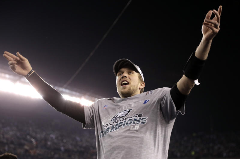 Nick Foles celebrates after the Eagles won the NFC championship. (AP)