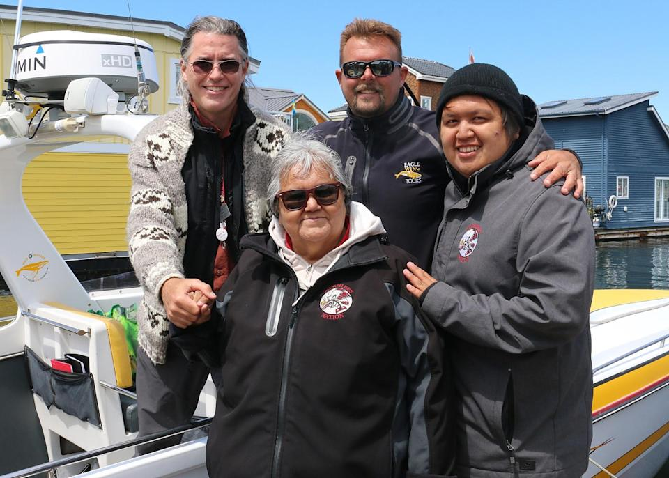 <p>This incredible journey through Songhees Nation history could not have been told without the voice and wisdom of Elder Joan Morris, Garry Sam and Mark Salter of the Songhees Nation. A big thanks to Brett Soberg too, as we couldn't have gotten so close to these beautiful sea mammals without his knowledge and expertise. [Photo credit: Eagle Wing Whale & Wildlife Tours] </p>