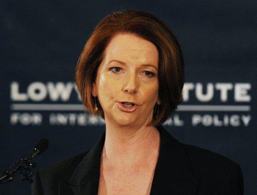 Australian Prime Minister Julia Gillard speaks during the release of the government's White Paper on 'Australia in the Asian Century' at the Lowy Institute in Sydney on October 28. The ambitious plan, aimed at maximising links with booming China and other soaring Asian economies, will power Australia into the world's top 10 wealthiest nations by 2025, the government says