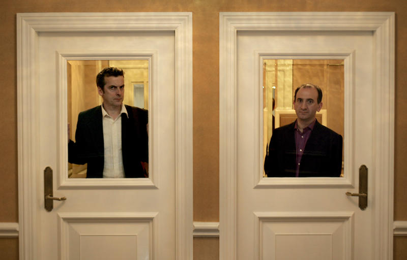 """Creator Armando Iannucci, right, and actor Peter Capaldi are in town to promote """"In the Thick of It,"""" a british television series dealing with life as England's Prime Minister, Wednesday, January 11, 2006 in Pasadena. (Photo by Robert Gauthier/Los Angeles Times via Getty Images)"""
