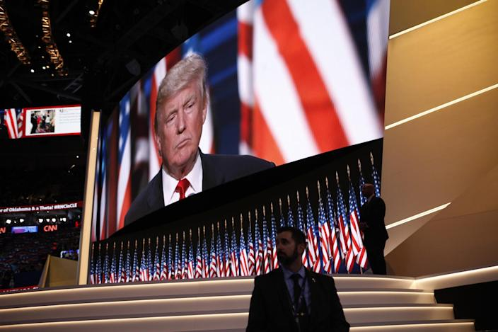 Donald Trump speaks at the Republican convention. (Photo: Khue Bui for Yahoo News)